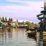 Homes on stilts on the floating village of Kampong Phluk Floating Village