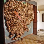 A map of Cambodia made with 300 human skulls in Toul Sleng Genocide Museum