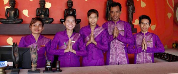 Cambodia people in the traditional way of greeting