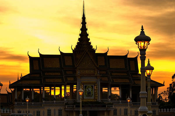 sunset at Royal Palace, Cambodia trips