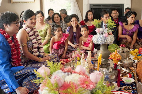 The whole Cambodian family in the wedding of a family member
