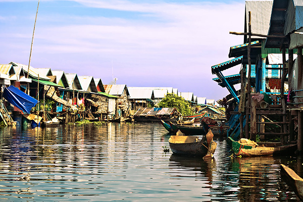 Homes on stilts on the floating village of Kampong Phluk Floating Village