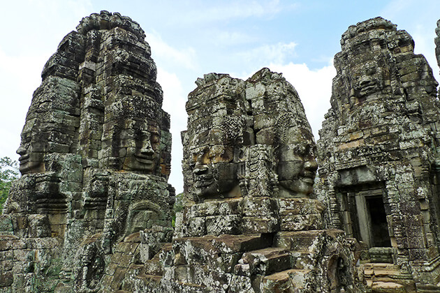 Angkor Thom Temple with the carvings of faces