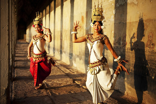 Cambodian girls in traditional dress