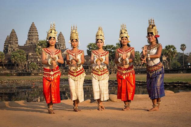 Women wear traditional dress in Cambodia