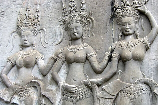 Apsaras on the wall Ang Kor Wat, Cambodia Tour Packages