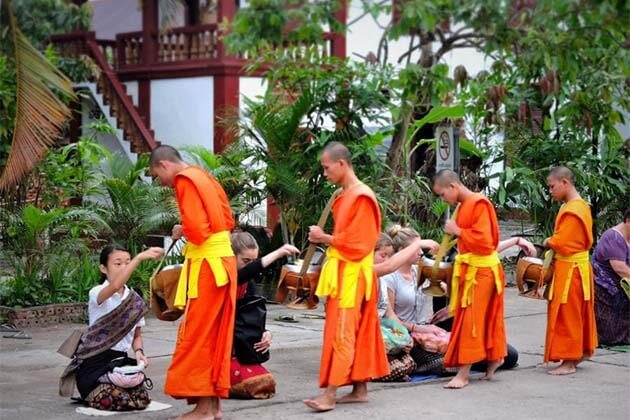 the Almsgiving in Laos, Cambodia Laos Trips